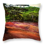 Seven Colored Earth In Chamarel 3. Mauritius Throw Pillow