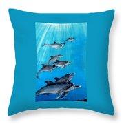 Seven Dolphins Throw Pillow