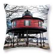 Seven Foot Knoll Lighthouse - Baltimore Throw Pillow