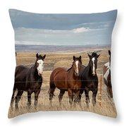 Seven Horses On The Range Pan Throw Pillow