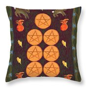 Seven Of Pentacles Throw Pillow