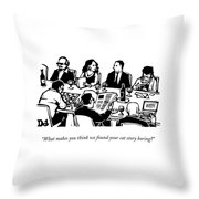 Seven People Are Seen Sitting At A Table Throw Pillow