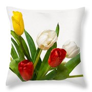 Seven Tulips - Four Colors Throw Pillow