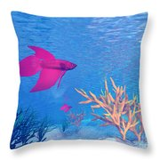 Several Red Betta Fish Swimming Throw Pillow