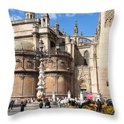 Seville Cathedral In The Old Town Throw Pillow
