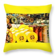 Sew A Needle Pulling Cable Dockside At Port Fourchoun Louisiana Throw Pillow