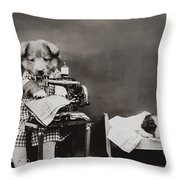 Sewing Baby Clothes Throw Pillow by Aged Pixel