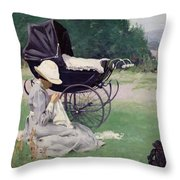 Sewing In The Sun, 1913 Throw Pillow