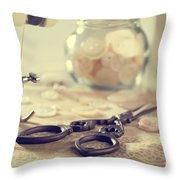 Sewing Items Throw Pillow by Amanda Elwell