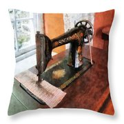 Sewing Machine Near Lace Curtain Throw Pillow