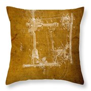 Sewing Machine Vintage Patent On Worn Canvas Throw Pillow by Design Turnpike
