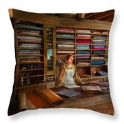 Sewing - Minding The Mending Store Throw Pillow by Mike Savad