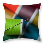 Sewing Needle With Bright Colored Spools Throw Pillow