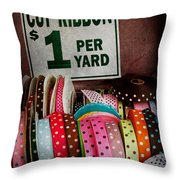 Sewing - Ribbon By The Yard Throw Pillow by Mike Savad