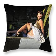 Sexy 1940s Style Pin-up Girl Sitting Throw Pillow by Christian Kieffer