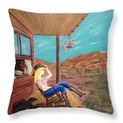 Sexy Cowgirl Sitting On A Chair At High Noon Throw Pillow