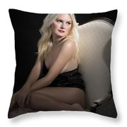 Sexy Fine Art Blond Girl In Chair 1285.02 Throw Pillow