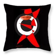 Sexy Lips Black  Red White Black Expressions  Throw Pillow