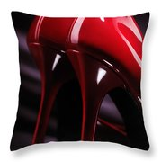 Sexy Red High Heel Shoes Closeup Throw Pillow by Oleksiy Maksymenko