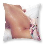 Sexy Wet Woman Body Closeup Throw Pillow