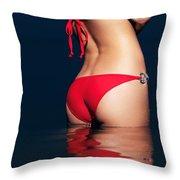 Sexy Woman Bottom In Red Bikini In Water Throw Pillow