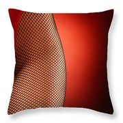 Sexy Woman Hips In Fishnet  Throw Pillow