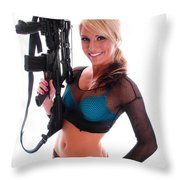 Sexy Woman Holding An Ar15 Throw Pillow