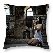 Sexy Woman In Church 2 Throw Pillow