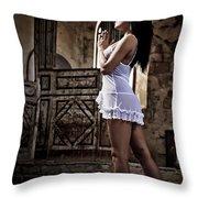 Sexy Woman In Church Throw Pillow