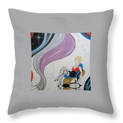 Sexy Woman Sitting In A Chair At A Nightclub Throw Pillow