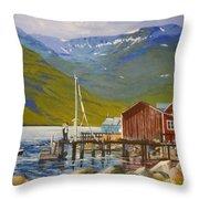 Seydisfjordur Wharf Throw Pillow