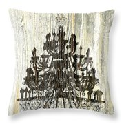Shabby Chic Rustic Black Chandelier On White Washed Wood Throw Pillow