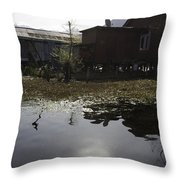 Shack And House Along With Weeds Right On Shore Of Dal Lake Throw Pillow