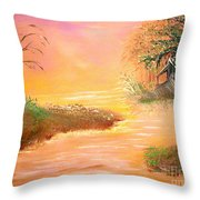 Shack In The Bayou At Dawn Throw Pillow