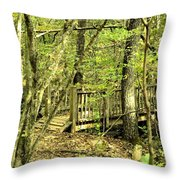 Shades Mountain Bridge In The Forest Throw Pillow
