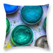 Shades Of Green Watercolor Throw Pillow