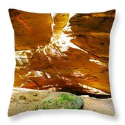 Shades Of Light Shadow And Texture On Cliff Wall Throw Pillow