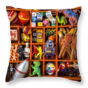 Shadow Box Full Of Toys Throw Pillow