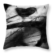 Shadow Heart Rough Charcoal Throw Pillow