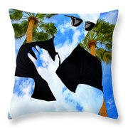 Shadow Man Palm Springs Throw Pillow