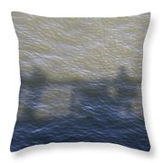 Shadow Of People Standing On The Bridge Over The River Main In Frankfurt Am Main Germany Throw Pillow