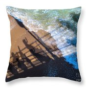 Shadows Day At The Beach Throw Pillow