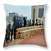 Shadow Representations Of People Coming To The Port In Donkin Reserve In Port Elizabeth-south Africa   Throw Pillow