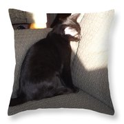 Shadow Staring At Her Shadow Throw Pillow