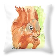 Shadow Tail Red Squirrel Throw Pillow