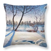 Shadows On The Snow Throw Pillow