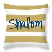 Shalom- Blue With Gold Throw Pillow