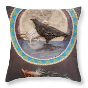 Shaman Black Raven And His Mate Medicine Woman Blue Fairy Animal Spirit Medicine Wheel Throw Pillow