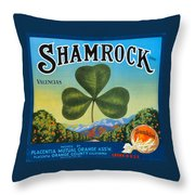 Shamrock Crate Label Throw Pillow