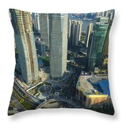 Shanghai From Above Throw Pillow